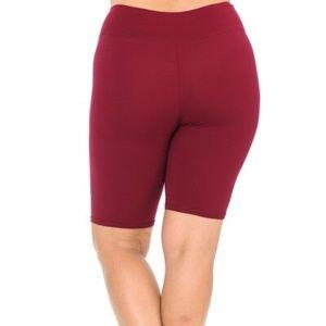 Burgundy Basic Solid Plus Size Shorts - 3 Inch